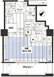 ザ・タワーグランディア 4階1Kの間取り
