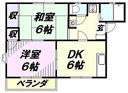 埼玉県所沢市けやき台1丁目の賃貸アパートの間取り