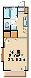 モア多摩 2階1Kの間取り