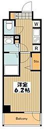 JR中央線 八王子駅 徒歩7分の賃貸マンション 8階1Kの間取り