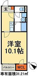 新京成電鉄 みのり台駅 徒歩22分の賃貸アパート 2階1Kの間取り