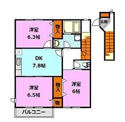 茨城県筑西市玉戸の賃貸アパートの間取り