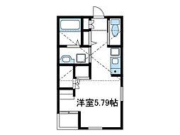 小田急小田原線 小田急相模原駅 徒歩23分の賃貸アパート 2階1Kの間取り