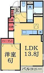 千葉県千葉市緑区高田町の賃貸アパートの間取り