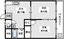 尾崎ハイツA 2階2DKの間取り