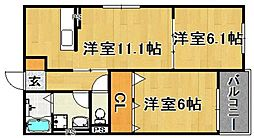(仮)多々良IIアパート[203号室]の間取り