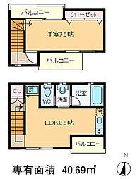 東京都北区上十条4丁目の賃貸アパートの間取り