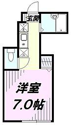 JR中央線 立川駅 徒歩10分の賃貸アパート 1階ワンルームの間取り