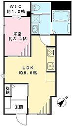 東京メトロ半蔵門線 表参道駅 徒歩6分の賃貸アパート 1階1LDKの間取り