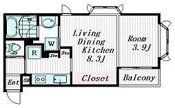 西小山アパートメント 2階1LDKの間取り