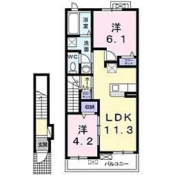 クレメント野田 2階2LDKの間取り