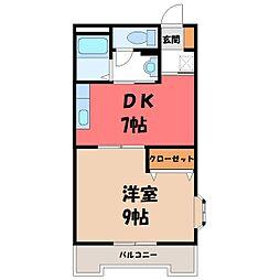 栃木県小山市神鳥谷2丁目の賃貸マンションの間取り