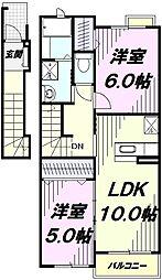JR五日市線 東秋留駅 徒歩12分の賃貸アパート 2階2LDKの間取り
