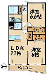 京王相模原線 若葉台駅 徒歩5分の賃貸マンション 2階2LDKの間取り