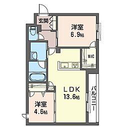 仮)セブンリリー 3階2LDKの間取り