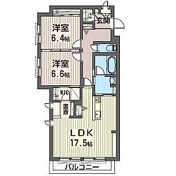 エミナール那珂川 1階2LDKの間取り