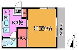 里見荘[102号室]の間取り