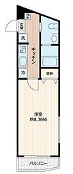 ピアコートTM東久留米参番館 2階1Kの間取り