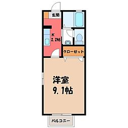 栃木県小山市東城南3丁目の賃貸アパートの間取り