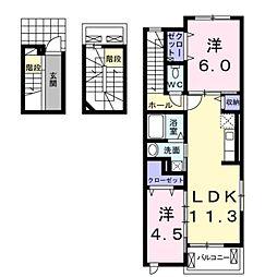 愛知県豊橋市北島町字高田の賃貸アパートの間取り