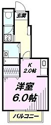 JR五日市線 秋川駅 徒歩9分の賃貸アパート 1階1Kの間取り