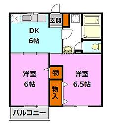 茨城県筑西市布川の賃貸アパートの間取り