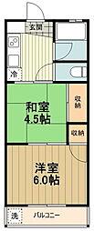 JR中央線 西八王子駅 徒歩26分の賃貸マンション 3階2DKの間取り