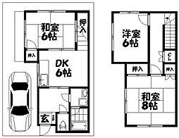 上島東町貸家 2階3DKの間取り