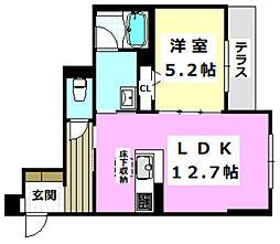 (仮称)摂津市シャーメゾン千里丘 1階1LDKの間取り