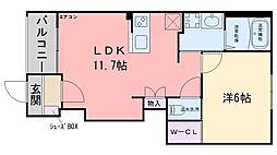 コンフォルティーノ伊都 1階1LDKの間取り