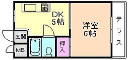 大阪府豊中市服部南町2丁目の賃貸マンションの間取り