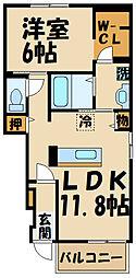 エテルノハウス深大寺 1階1LDKの間取り