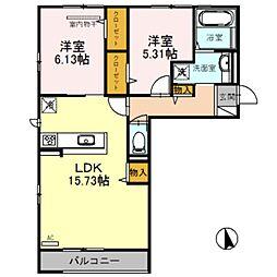 ラ・ルミエール 3階2LDKの間取り