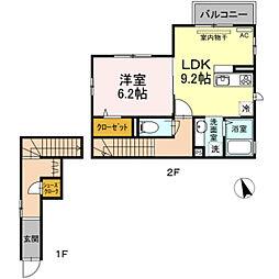 仮)D-room菅 2階1LDKの間取り