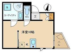 NEWFORT西新宿 1階ワンルームの間取り