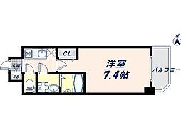 JR大阪環状線 寺田町駅 徒歩8分の賃貸マンション 12階1Kの間取り