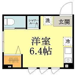 JR中央線 三鷹駅 徒歩4分の賃貸マンション 1階ワンルームの間取り