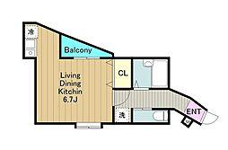 多摩都市モノレール 大塚・帝京大学駅 徒歩1分の賃貸アパート 1階1Kの間取り