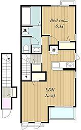 東急田園都市線 南町田グランベリーパーク駅 徒歩22分の賃貸アパート 2階1LDKの間取り