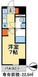 JR常磐線 松戸駅 徒歩3分の賃貸マンション 4階1Kの間取り