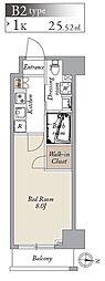都営大江戸線 両国駅 徒歩8分の賃貸マンション 8階1Kの間取り