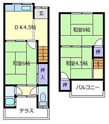 西田テラスハウス4戸1[1階]の間取り
