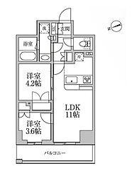 都営大江戸線 新御徒町駅 徒歩2分の賃貸マンション 5階2LDKの間取り