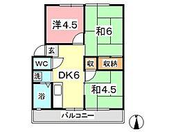 コーポ中村[201号室]の間取り