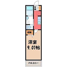 セナリオフォルム宇都宮 2階1Kの間取り