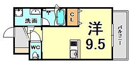 JR東海道・山陽本線 甲子園口駅 徒歩7分の賃貸マンション 7階ワンルームの間取り