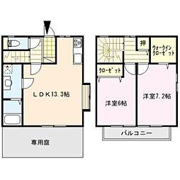 [テラスハウス] 福岡県久留米市合川町 の賃貸【/】の間取り
