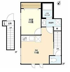 東急東横線 田園調布駅 徒歩6分の賃貸アパート 2階1DKの間取り