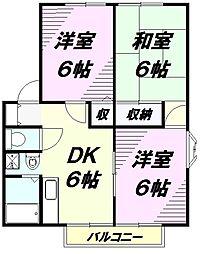 埼玉県入間市大字下藤沢の賃貸アパートの間取り