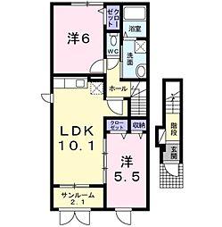 サン パティオ A棟[2階]の間取り
